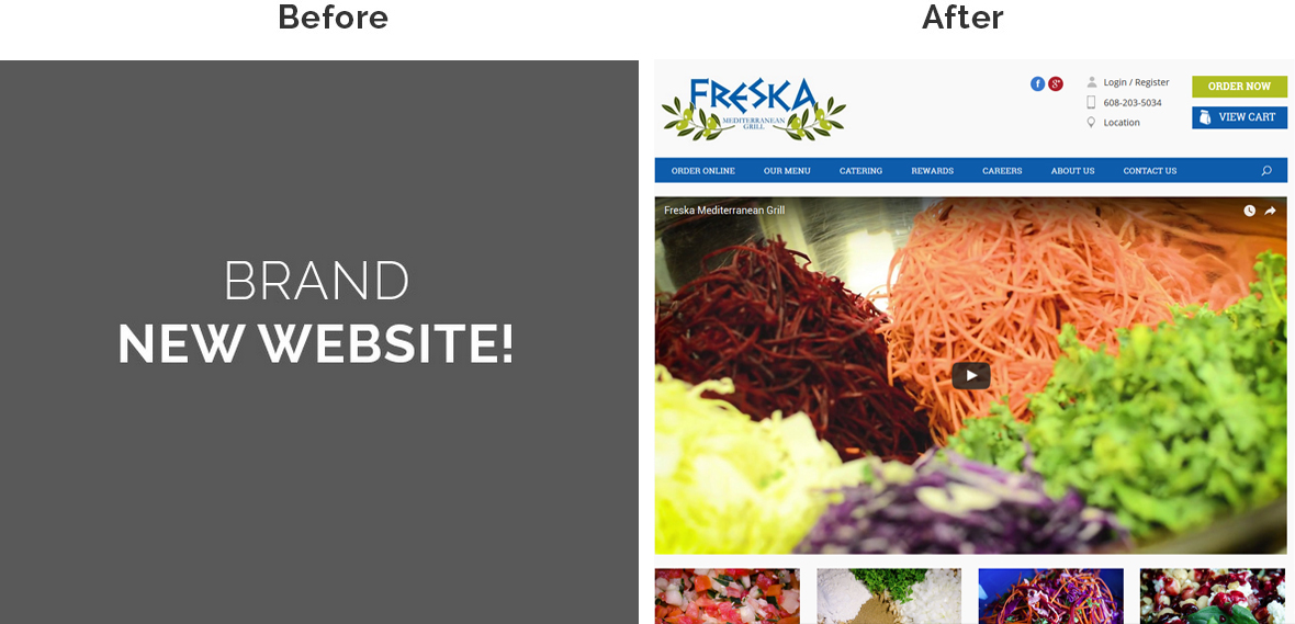 Before & After Screenshot of Freska Mediterranean Grill's Home Page