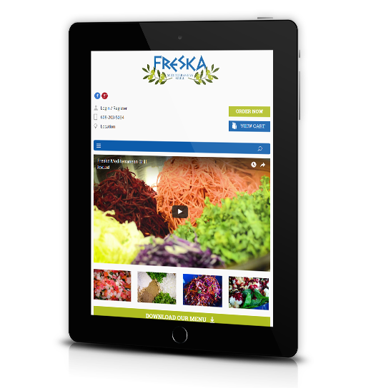 Tablet View of Freska Mediterranean Grill's Home Page