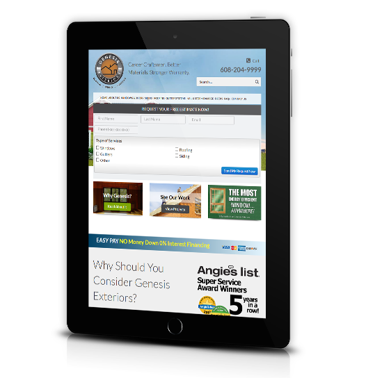 Tablet View of Genesis Exteriors Home Page