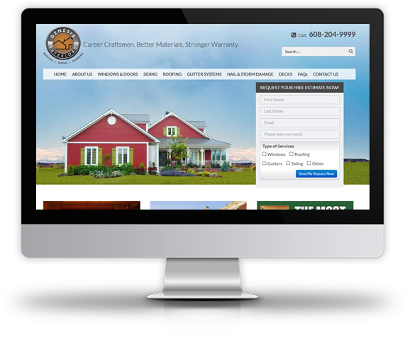 Desktop View of Genesis Exteriors Home Page