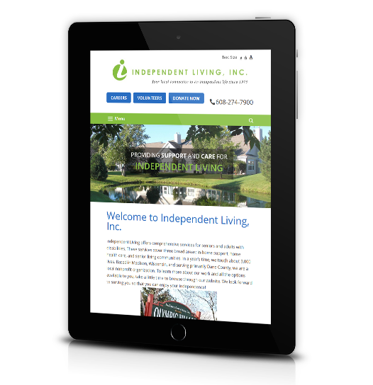 Tablet View of Independent Living's Home Page