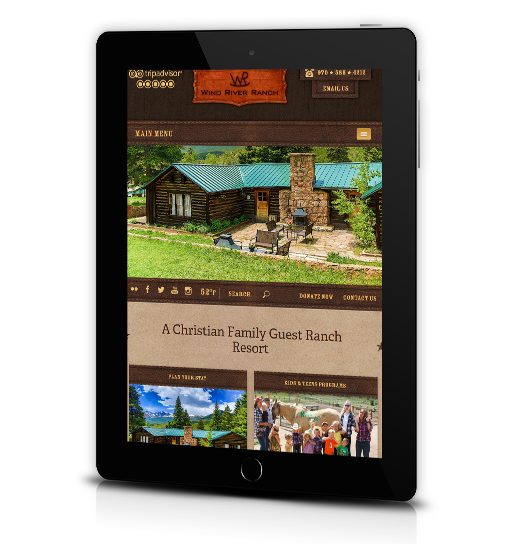 Tablet View of Wind River Ranch's Home Page