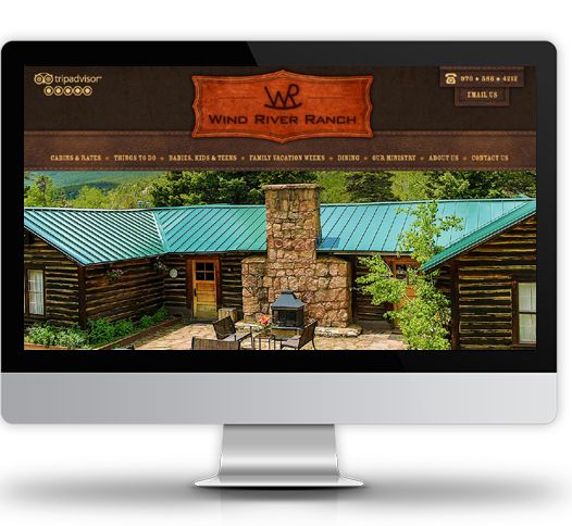 Desktop View of Wind River Ranch's Home Page