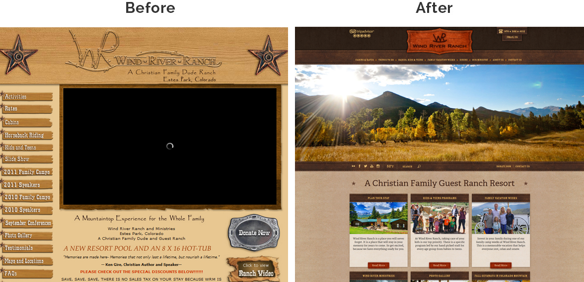 Before & After Screenshot of Wind River Ranch's Home Page