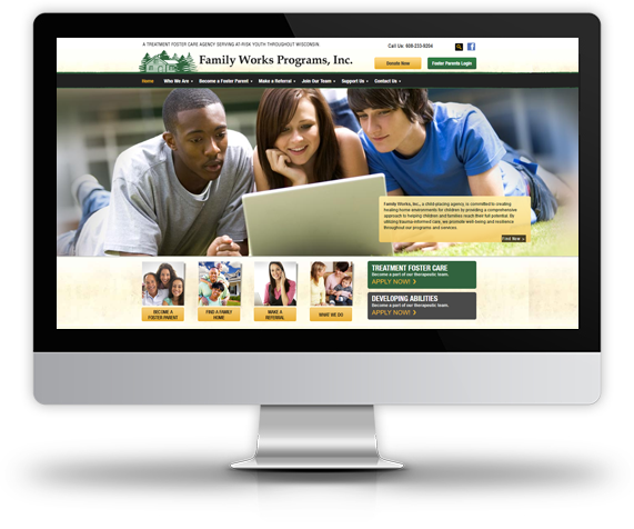 Desktop View of Family Works, Inc.'s Home Page