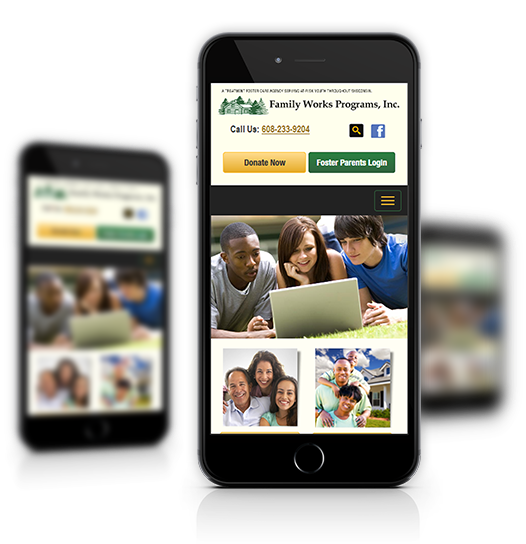 Mobile View of Family Works, Inc.'s Home Page