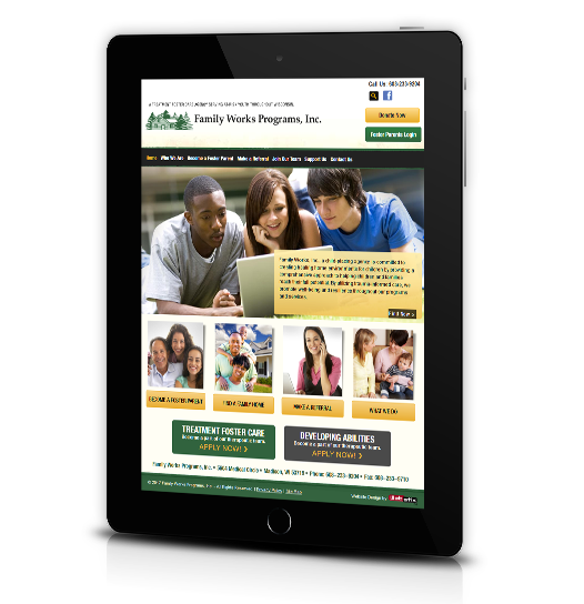 Tablet View of Family Works, Inc.'s Home Page