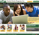 Desktop View of Family Works, Inc.'s Home Page in thumbnail