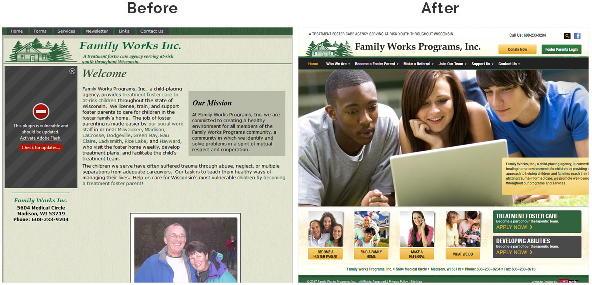 Before & After Screenshot of Family Works, Inc.'s Home Page