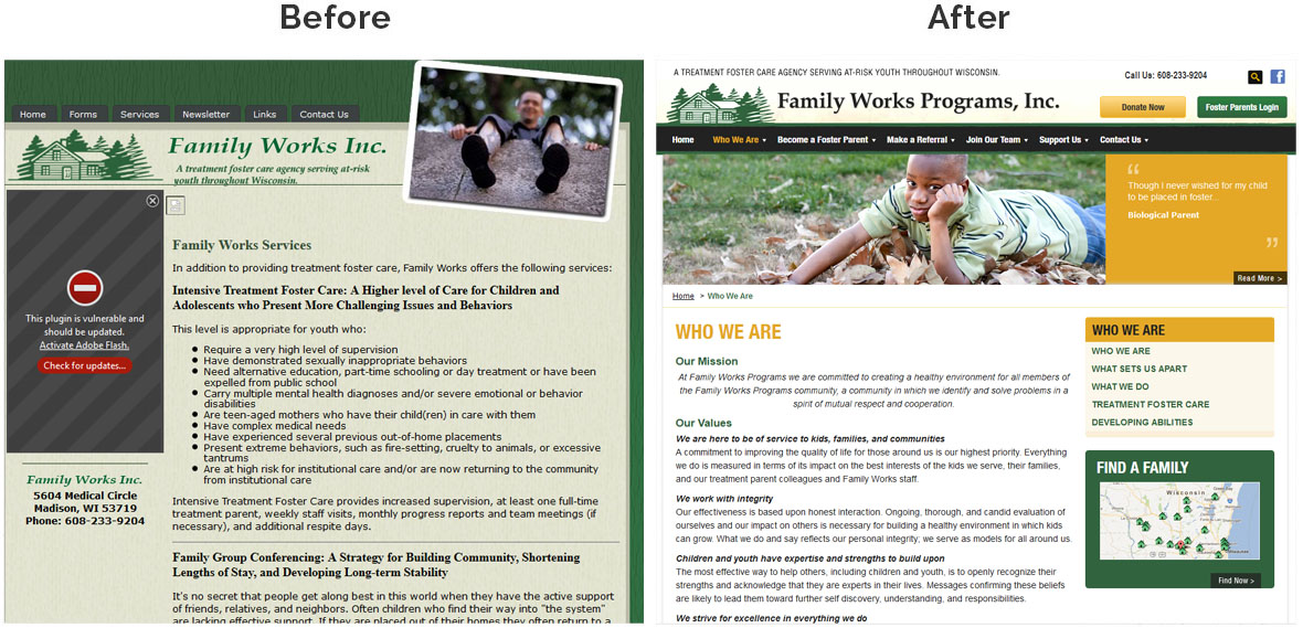 Before & After Screenshot of Family Works, Inc.'s Inside Page