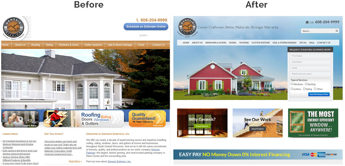 Before & After Screenshot of Genesis Exteriors Home Page