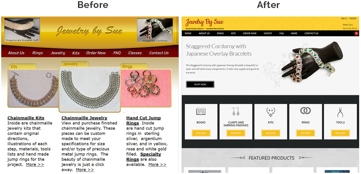 Before & After Screenshot of Jewelry by Sue's Home Page
