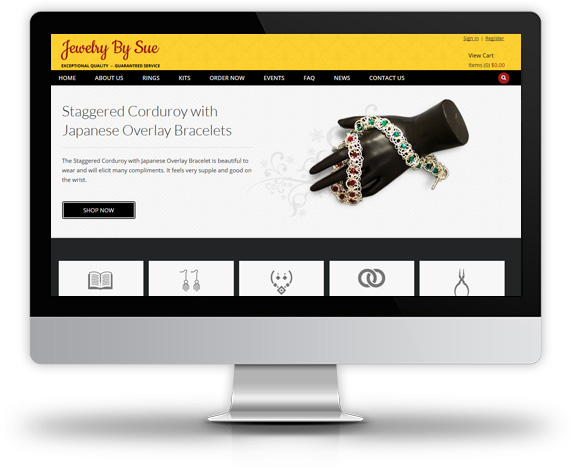 Desktop View of Jewelry by Sue's Home Page
