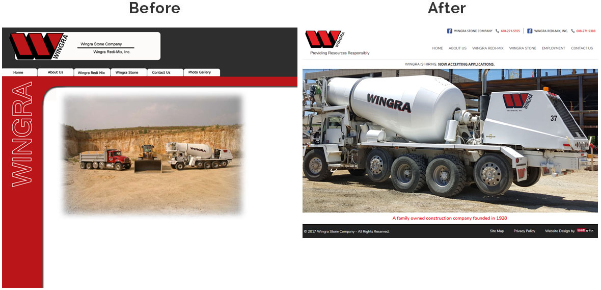 Before & After Screenshot of Wingra Stone Company's Home Page