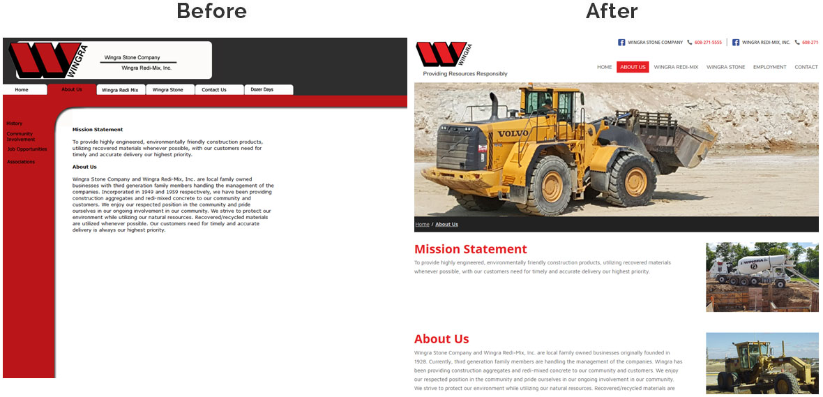 Before & After Screenshot of Wingra Stone Company's Inside Page