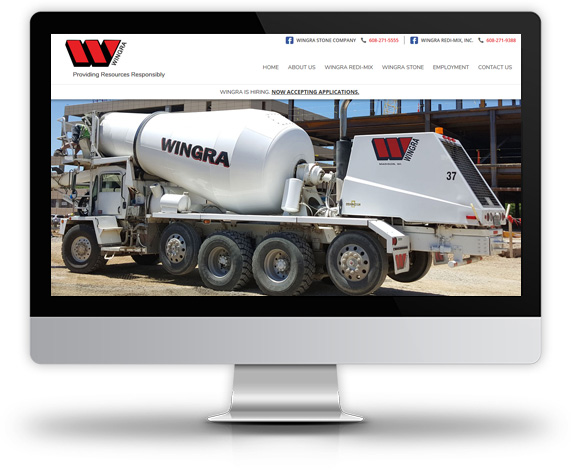 Desktop View of Wingra Stone Company's Home Page