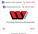 Mobile View of Wingra Stone Company's Home Page in thumbnail