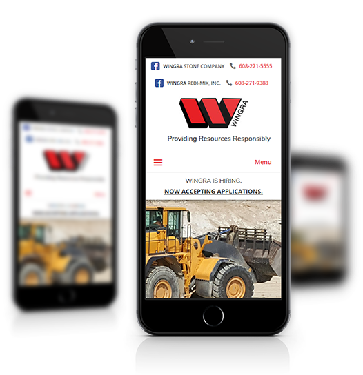 Mobile View of Wingra Stone Company's Home Page