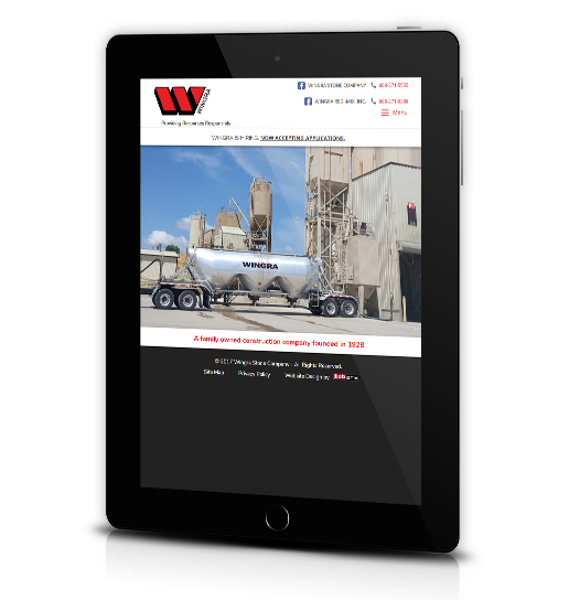Tablet View of Wingra Stone Company's Home Page