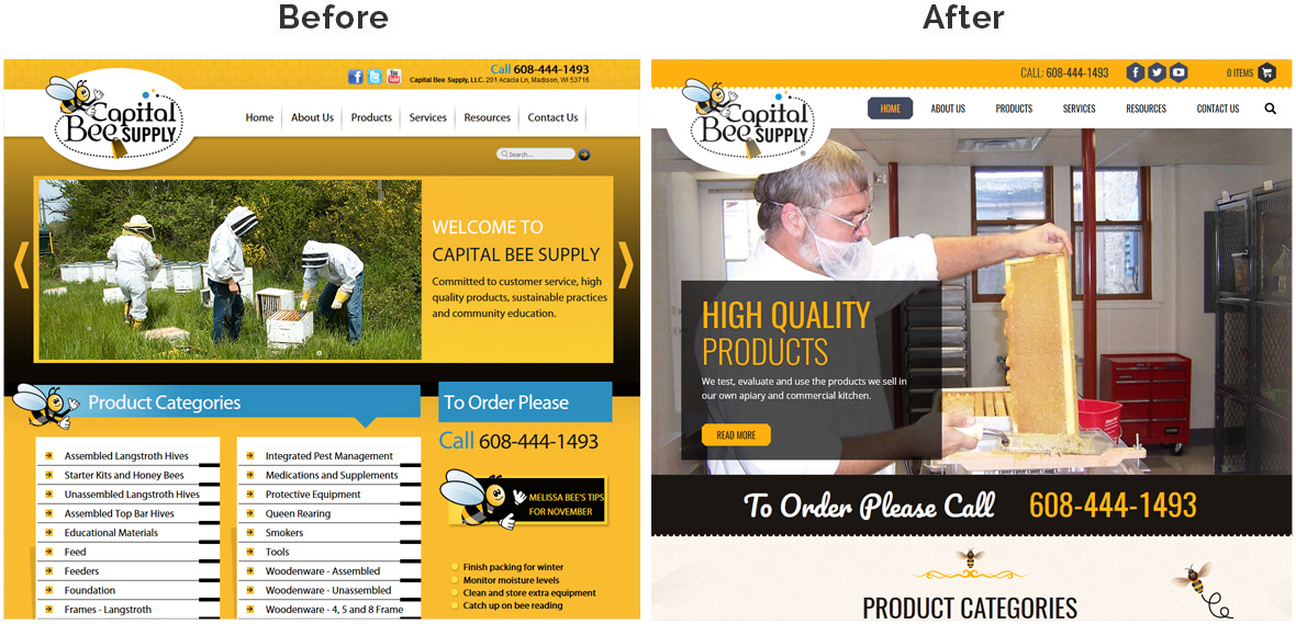 Before & After Screenshot of Capital Bee Supply's Home Page
