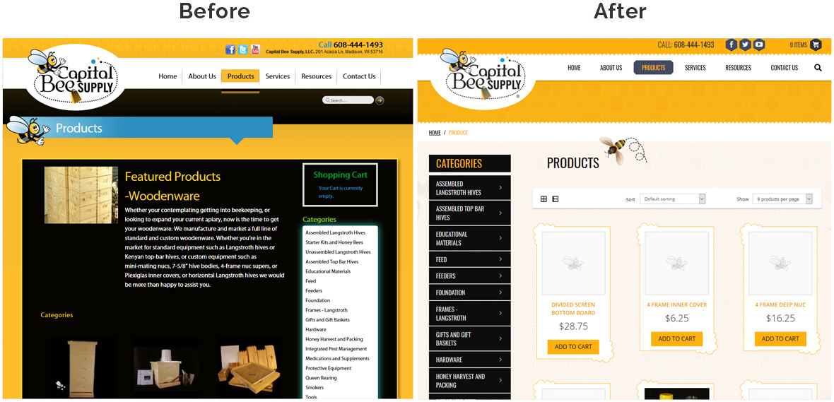 Before & After Screenshot of Capital Bee Supply's Inside Page