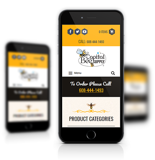 Mobile View of Capital Bee Supply's Home Page