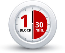 clock showing that 1 block is 30 minutes