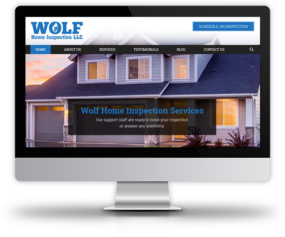 Desktop View of Wolf Home Inspection's Home Page