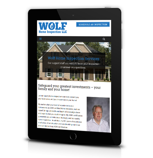 Tablet View of Wolf Home Inspection's Home Page