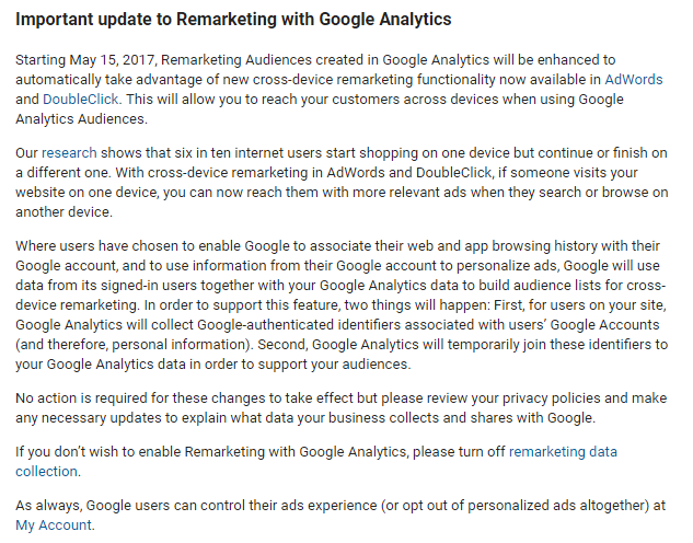 Google Analytics Remarketing update 2017