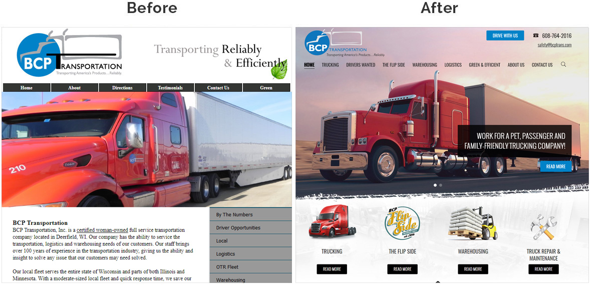 Before & After Screenshot of BCP Transportation's Home Page