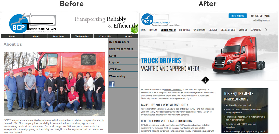 Before & After Screenshot of BCP Transportation's Inside Page