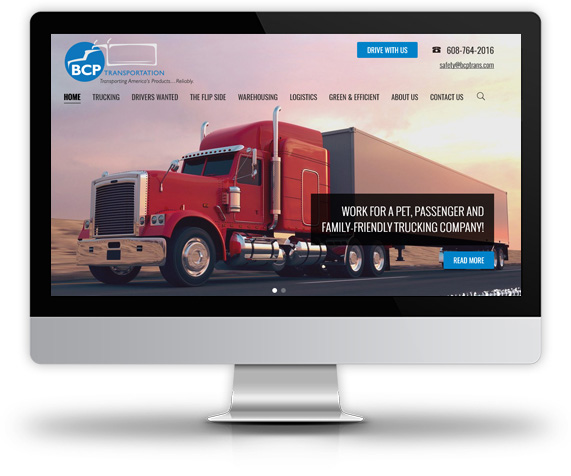 Desktop View of BCP Transportation's Home Page