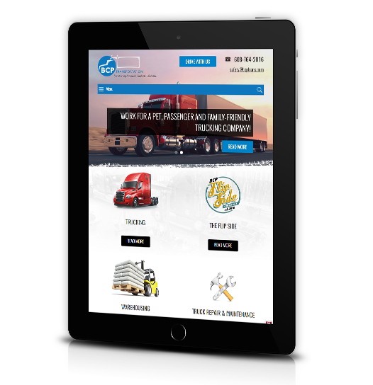 Tablet View of BCP Transportation's Home Page