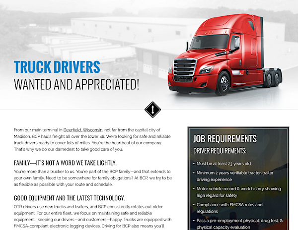 Truck Drivers Wanted page