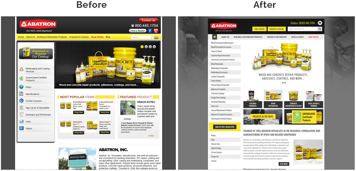 Before & After Screenshot of Abatron Inc. Home Page