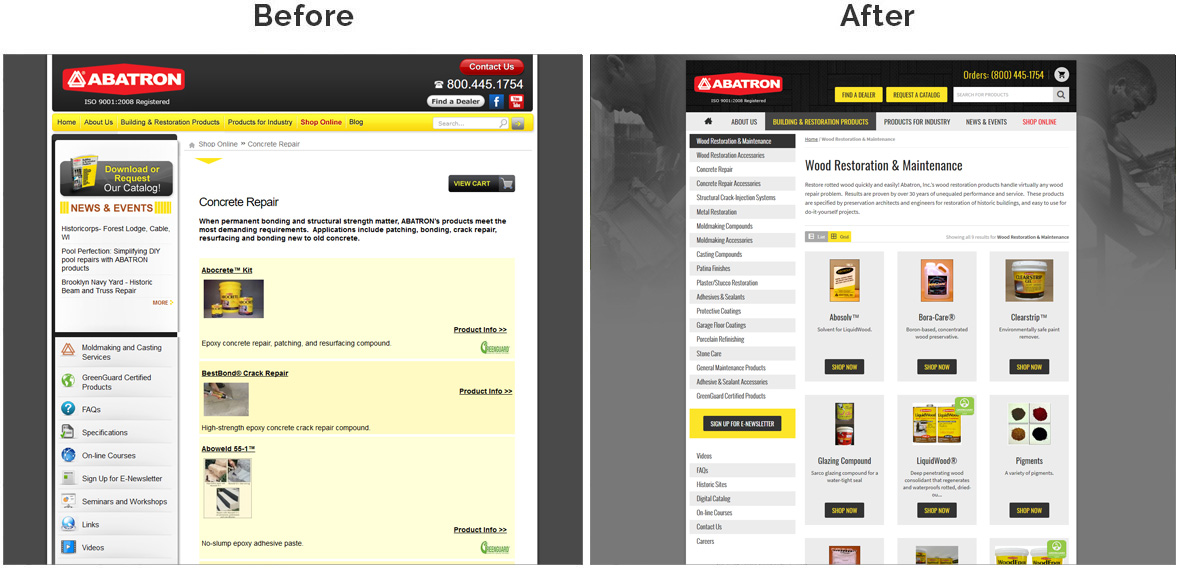Before & After Screenshot of Abatron Inc. Inside Page