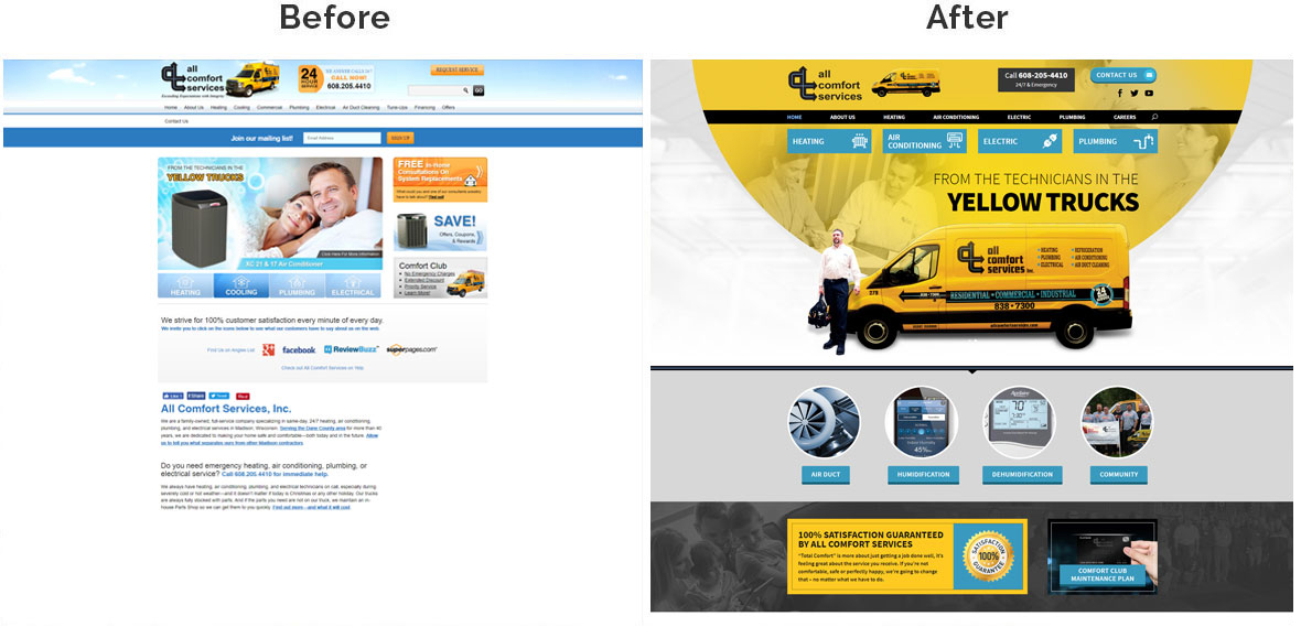 Before & After Screenshot of All Comfort Services Home Page