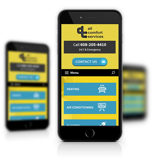 Mobile View of All Comfort Services Home Page