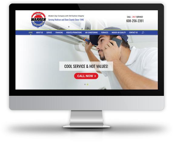 Desktop View of Warren Heating's Home Page