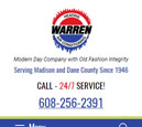 Mobile View of Warren Heating's Home Page in thumbnail