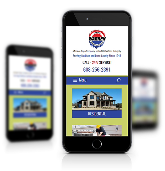 Mobile View of Warren Heating's Home Page
