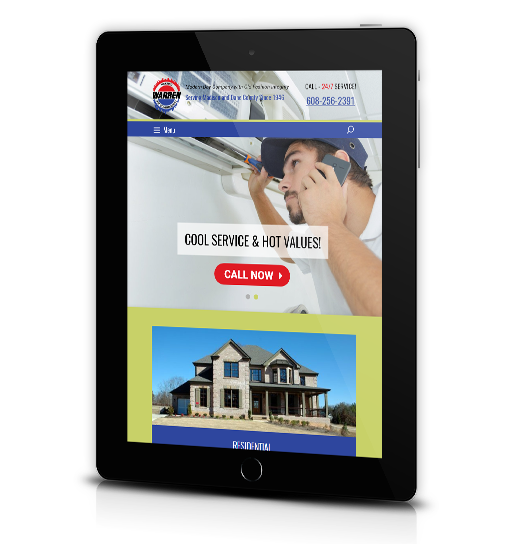 Tablet View of Warren Heating's Home Page