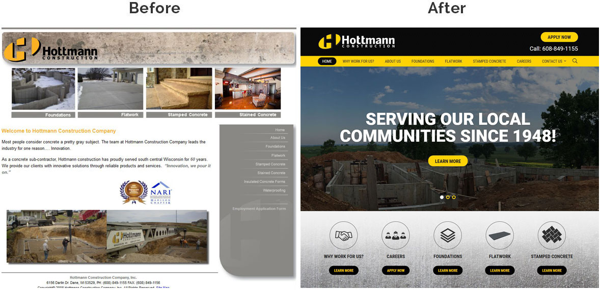 HCC Home Page Before and After
