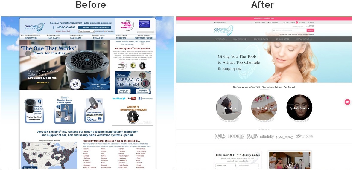Aerovex Systems Home Page Before and After