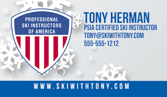 Ski With Tony Business Card Design by Webstix