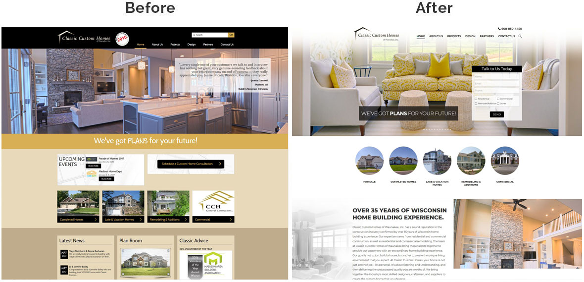 CCH Home Page Before and After