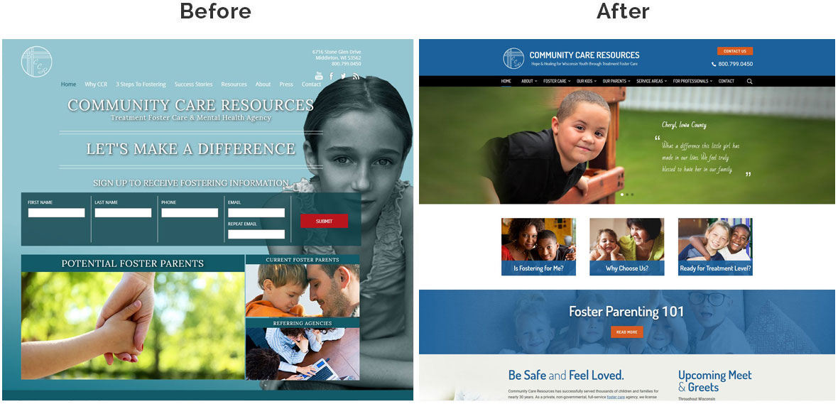 CCR Home Page Before and After