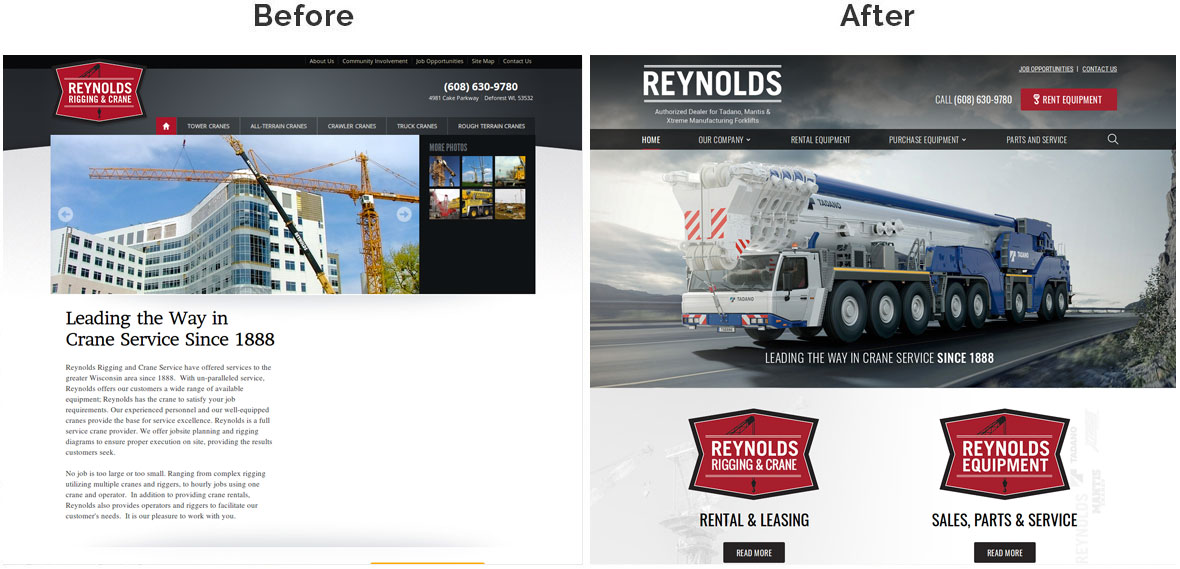 RRCS Home Page Before and After