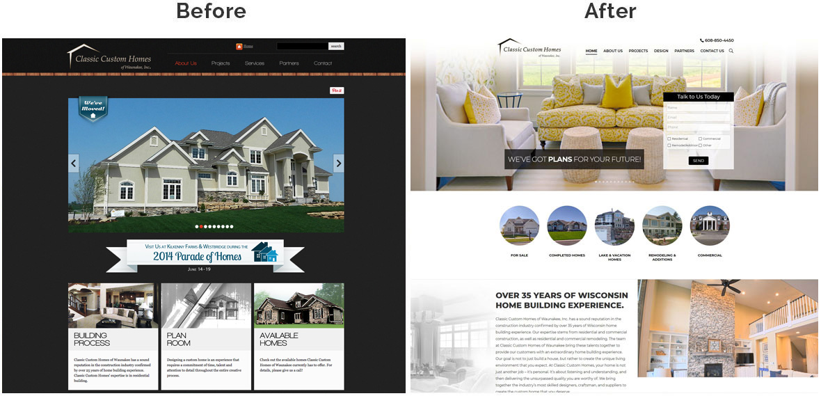 Before & After Screenshot of Classic Custom Homes's Home Page